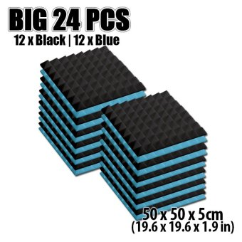 New 24pcs Black and Blue Bundle Pyramid Acoustic Foam Studio Sound Absorption Panel 50 x 50 x 5cm KK1034 Price Philippines