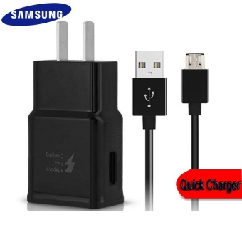 Harga Travel / Home Quick Charger For Samsung Galaxy S3 / S4 / J1 / J7 / J5 / A8 / A7 / A5 / A3 / E7 Whit USB Cable (Black)