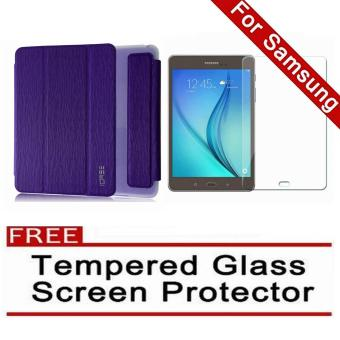 Harga iCase Slim Book Cover for Samsung Galaxy Tab A (2016) 7.0 (SM-T280 T285) (Purple) with FREE Tempered Glass Screen Protector (Clear)
