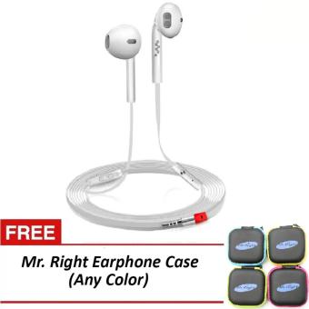 Harga Mr. Right Z600 11dB Original SuperBass Intelligent In-Ear Headphones (White) with free Mr. Right Earphone Case (any color)