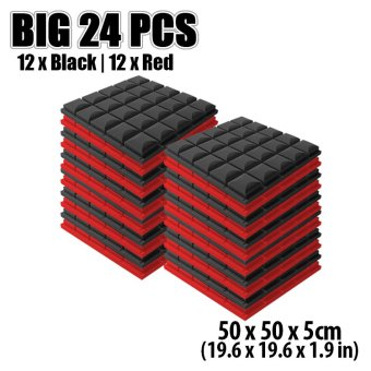 New 24pcs Black and Red Bundle Hemisphere Grid Type Acoustic Panel Sound Absorption Soundproof Foam 50 x 50 x 5cm KK1040 Price Philippines