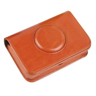 Harga Retro PU Leather Outdoor Carrying Case Daily Life Waterproof Shock-proof Decompression Anti-scratch Travel Cover Storage Bag with Self-timer Lens for Polaroid Snap Model Camera - intl