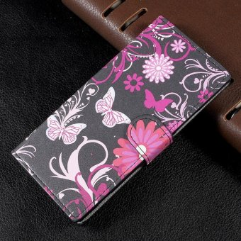 Patterned Leather Wallet Shell with Stand for Sony Xperia XA1 - Floral Butterflies - intl Price Philippines