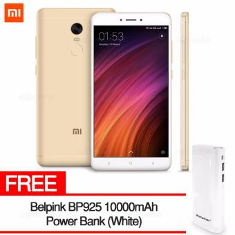 Harga Xiaomi Redmi Note 4X 4GB RAM 64GB ROM (GOLD) with FREE Belpink BP925 10000mAh Power Bank (White)