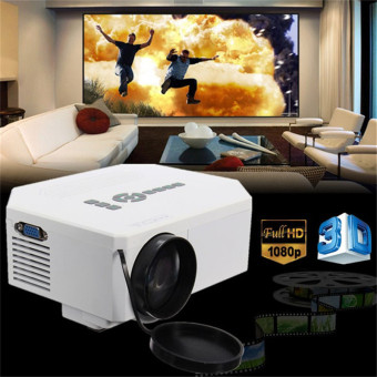 Harga 1200lumens HD 1080P Home Cinema 3D HDMI USB Video Game LED LCD Mini Projector (White)