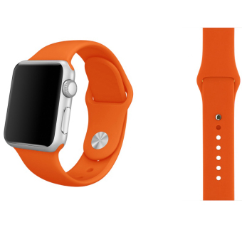 Soft Silicone Watch Band Strap With Connector Adapter For Apple Watch iWatch 42mm (Orange) Price Philippines