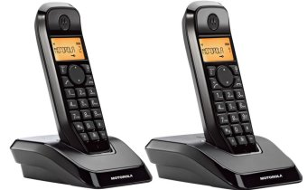 Harga Motorola S1202 Duo Cordless Phone (Black)