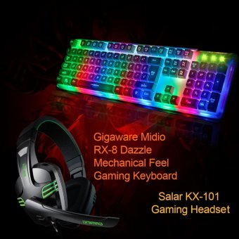 Gigaware Salar KX-101 Gaming Headset with Gigaware Midio RX-8 Dazzle Mechanical Feel Gaming Keyboard Price Philippines