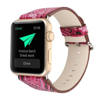 leegoal Vintage Folk National Style Colorful Painting Watch Band Strap For Apple Watch Leather Bracelet With Connector 42mm - intl Price Philippines