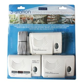 Harga Magic NW-3 3-Station Wired Intercom System Phone Security Baby Monitor (White)