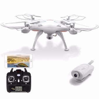 Harga Syma X5SW Wifi FPV Real-time 2.4GHz RC Quadcopter Drone UAV RTF UFO with 0.3MP Camera (White)