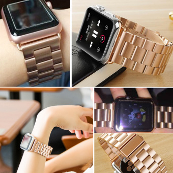 Moonar Stainless Steel Bracelet Link Watch Band Strap with Connector for Apple Watch iWatch (Rose Gold-38mm) - intl Price Philippines