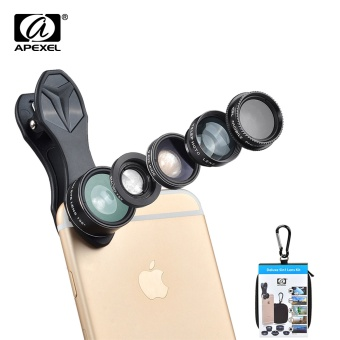 Harga APEXEL 5 in 1 Fish Eye Wide Angle Macro lens Telescope telephoto lens CPL Mobile Phone camera lens For iPhone Samsung xiaomi DG5 - intl