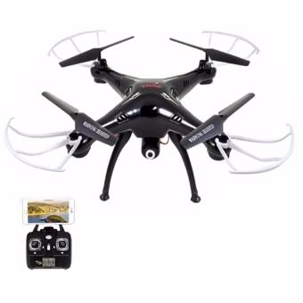 Harga Homex Syma X5SW-1 Wifi FPV Real-time 2.4GHz RC Quadcopter Drone UAV RTF UFO with 0.3MP Camera (Black and white) with Syma 1200 mAh Li-Po Battery