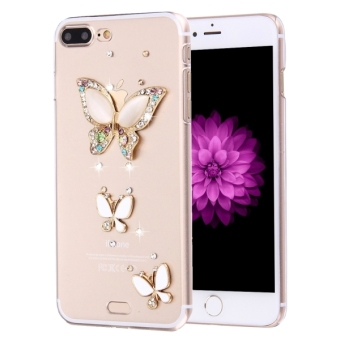 Fevelove For IPhone 7 Plus Diamond Encrusted Three Butterflies Pattern PC Protective Case Back Cover - intl Price Philippines