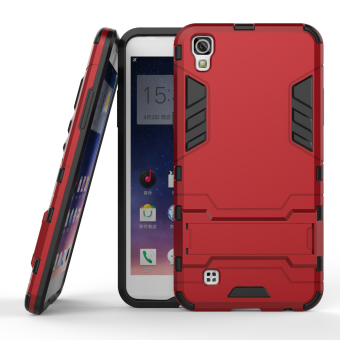 Harga RUILEAN Hybrid Armor Dual-Layer Shockproof Stand Case Cover for LG X Power (Red)