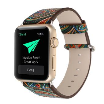 leegoal Vintage Folk National Style Colorful Painting Watch Band Strap For Apple Watch Leather Bracelet With Connector 38mm - intl Price Philippines