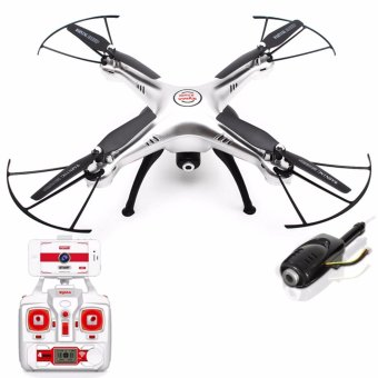 Harga Syma X5HW WIFI FPV With 2MP HD Camera 2.4G 4CH 6-Axis Gyro Quadcopter RTF (Silver)