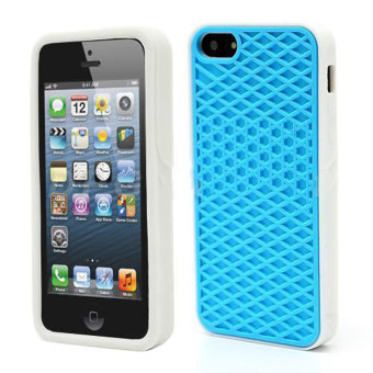 Leegoal Sky Blue with White Side Silicone Rubber Sole Vans Waffle Case Cover for IPhone5/5S - intl Price Philippines