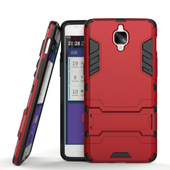 Harga RUILEAN Hybrid Armor Dual-Layer Shockproof Stand Case Cover for OnePlus 3 Red