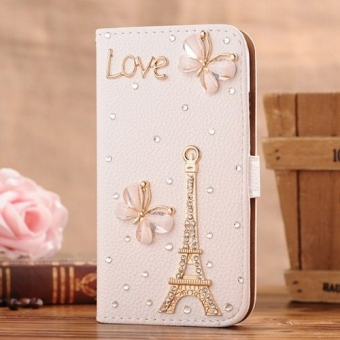 Moonmini Case for Samsung Galaxy Mega 6.3 I9200 I9025 I9028 - Eiffel Tower Luxury Fashion Bling Diamond Rhinestone PU Flip Wallet Leather Case Cover and Butterflies Price Philippines