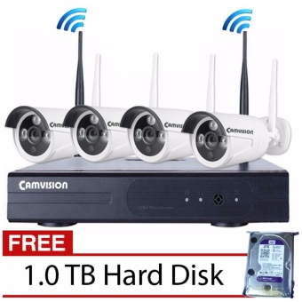 Camvision 4CH 1.3MP Wireless CCTV Kit with FREE 1TB Hard Disk Price Philippines