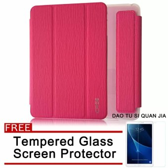 Harga ICASE Auto Sleep / Wake Leather/TPU Flip Cover Case for Samsung Galaxy Tab 3 V / T113 (Pink) with Free Tempered Glass Screen Protector