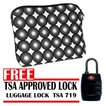 Model ST4001 14 Inch Padded Laptop Sleeve (Black/White) with Zipper With Free TSA Approved Luggage Lock TSA 715 Price Philippines