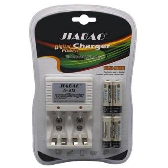 Harga Jiabao A-613 Charger with 4-Piece 600mAh AA Rechargable Battery