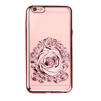 Harga 3D Rose Pattern Plated TPU Soft Case for iPhone 6/6s Plus 5.5'' (Rosy) - intl