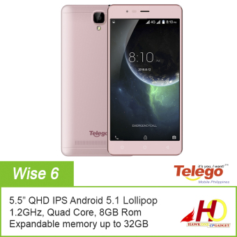 Harga Telego Mobile WISE 6 Android 5.1 1GB+8GB 3G Dual SIM (Rose Gold) w/ FREE Jelly Case