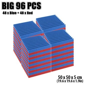 New 96 pcs Red and Blue Wedge Tile Acoustic Foam Sound Absorption Treatment 50 x 50 x 5 cm KK1134 - intl Price Philippines