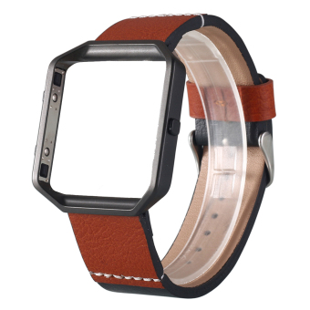 Fitbit Blaze Accessory Band Large with Metal Frame Housing Genuine Leather Strap Replacement Wrist Band Bracelet for Fitbit Blaze Smart Fitness Watch - Black Price Philippines
