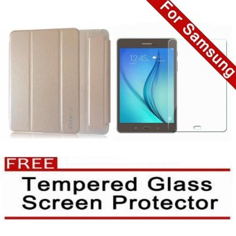 Harga iCase Slim Book Cover for Samsung Galaxy Tab A (2016) 7.0 (SM-T280 T285) (Gold) with FREE Tempered Glass Screen Protector (Clear)