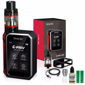 Harga Smok G-Priv 220W Variable Temperature Control Electronic Cigarette Kit with TFV-8 Big Baby Coil Head Pre-Installed (Black/Red) with Vapeboro Premium Quality E-Juice 30ml (Flavor May Vary) & LHR Shrek 2500mAh OR 2600mah INR18650 Battery