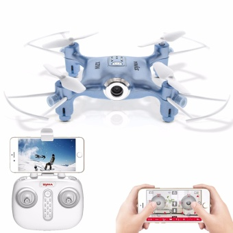 Harga SYMA X21W Mini Drone With Camera Wi-Fi FPV 720P HD 2.4GHz 4CH 6-Axis RC Helicopter Altitude Hold RTF Remote Control (Blue)