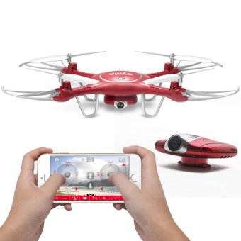 Harga Syma X5UW Wifi FPV 720P HD Camera Quadcopter Drone (Red)