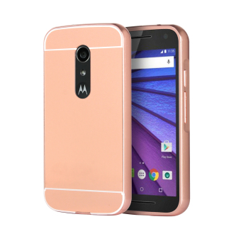 Harga Moonmini Metal Frame Bumper with Mirror Effect Back Case for Motorola Moto G2 (Rose Gold) - Intl
