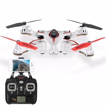 Harga Syma X56W Wi-Fi FPV G-sensor Foldable Drone 2.4G 4CH 6-axis Gyro RC Quad copter RTF with Altitude Hold Headless Mode Track-controlled Mode (White)