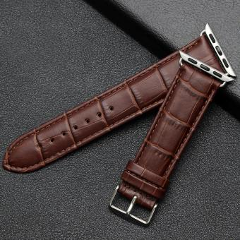 niceEshop 42mm Luxury Crocodile Pattern Leather Wrist Watch Band Strap Belt For Iwatch Apple Watch (Brown) - intl Price Philippines