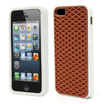 Leegoal Brown with White Side Silicone Rubber Sole Vans Waffle Case Cover for IPhone5/5S - intl Price Philippines