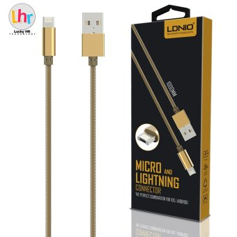 Harga LDNIO LC88 2 in 1 Micro USB for Android Plus Lightning Connector Charger Data Cable for iPhone 7/6s (Gold)