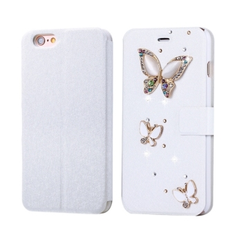 SUNSKY Flip Leather Case With Magnetic Buckle and Card Slots Fevelove For IPhone 6 and 6s Diamond Encrusted Three Butterflies Pattern Horizontal Price Philippines