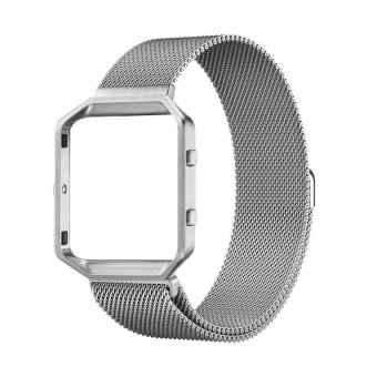 Rugged Metal Frame Housing with Magnet Lock Milanese Loop Stainless Steel Strap for Fitbit Blaze (Silver) Price Philippines