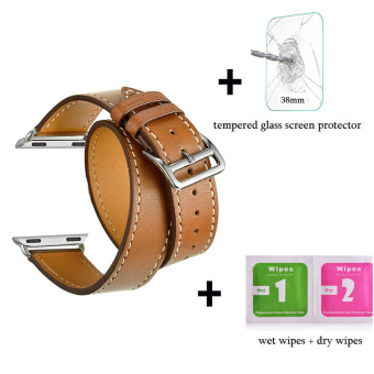 Leather watch band Double Tour Bracelet strap For Apple Watch Iwatch Series 1 Series 2(38mm brown) - intl Price Philippines
