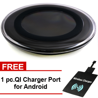 Great Deals Wireless Charger Round Pad Type Qi Standard for All Type of Phone (Black) with Free QI Charger Port Price Philippines