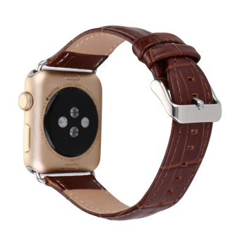 Luxury Crocodile Pattern Leather Wrist Watch Band Strap Belt for iwatch Apple Watch (38mm Brown) - intl Price Philippines