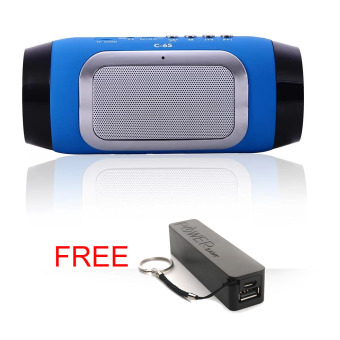 Harga Auxis C-65 Fashion Bluetooth Speaker (Blue) with FREE A5 2600 mAh Power Bank