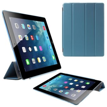Harga Four-fold Stand Smart Leather Cover and Back Companion PC Case for The New iPad (Blue)