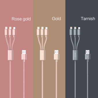 Harga 3 in 1 usb cable 1M to charge for IOS and Android mobile phone micro usb cable and cable for lighnting-Rose Gold - Intl